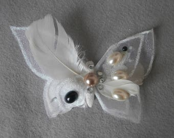 Large Butterfly with feathers and rhinestones