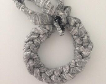 Grey violet hand braided bracelet
