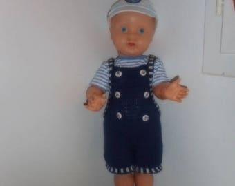 salopette bébé rayée marine et blanc 'fait main' bébé 3 mois avec tee-shirt marine rayé