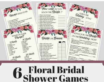 Floral Bridal Shower Games, 6 Printable Bachelorette Games, Floral Bridal Shower Games, Hens Night Game, Party Games, Fun Games