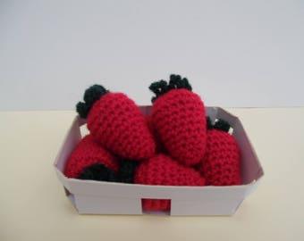 Dinette crochet tray of 6 strawberries