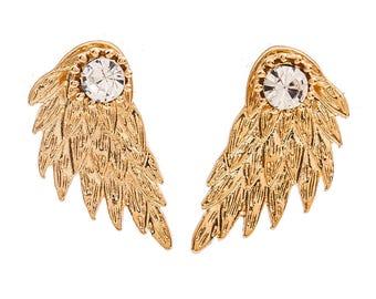Stud earrings wing shap