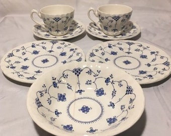 Myott Finlandia China Dinnerware Staffordshire 2 Teacups, Saucers, Plates & Bowl