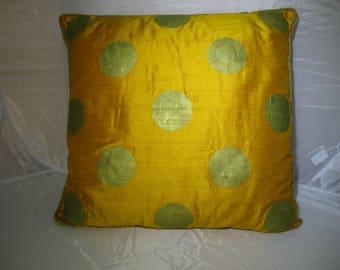 Golden Yellow Orange Polka Dot Dupioni Silk Pillow - large