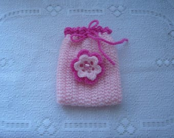 Pink wool pouch pouch, to give your creations with charm