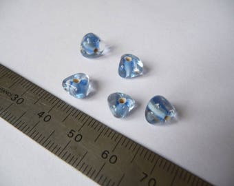Set of 5 blue and transparent beads