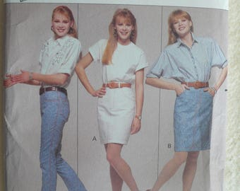 Women's Skirt and Jeans Pattern - Vintage Butterick 6123 - Size 6-10