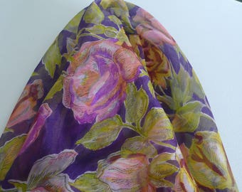 Vintage Silk Scarf, Pink, Purple, Yellow and Green Flowered Print, 30.5 x 34.75