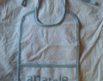Bib embroidered with baby's name