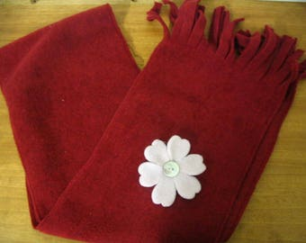 Scarf material red fleece