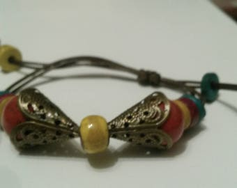 ethnic bracelet, adjustable Pearl yellow and Red