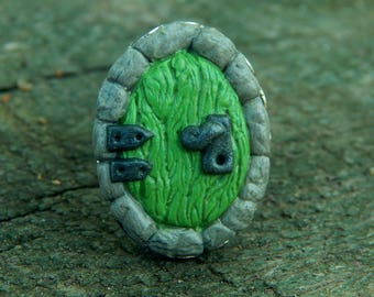 FREE SHIPPING - Green Fairy Door ~ handmade polymer clay ring inspired by fantasy tales
