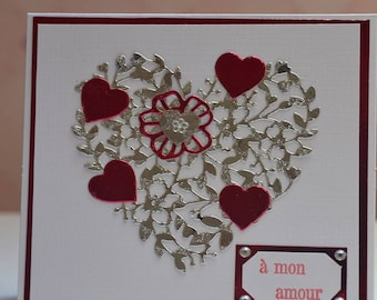 Engraved heart Valentine card