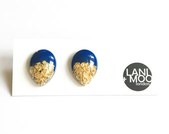 Teardrop Blue Resin Stud Metallic Gold Leaf Statement Earrings!