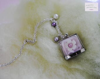 "Necklace ""cotton candy"" with plexiglass pendant"