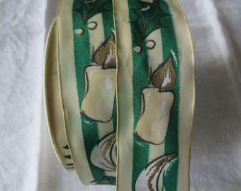 16 m Gold Green White Christmas Ribbon
