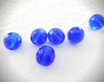Six hard Bohemian 12 mm blue faceted crystal glass beads.