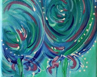 Blue, White, Abstract Painting, Original Art, Acrylic Painting, Art, Fine Art, Contemporary Art, Modern Art, Art Decor, Wall Art, 6x6