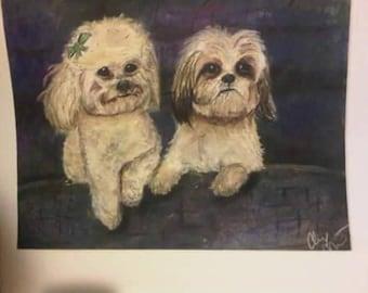 Custom pet portraits personalized dog cat photo pastel drawing