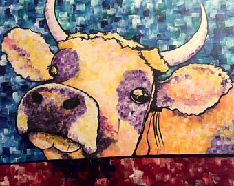Hello —  young cow / original acrylic painting on canvas by artist Jessi Miller