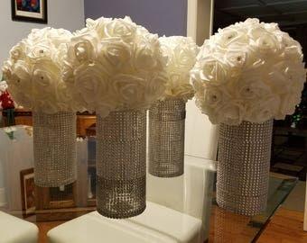 White foam flowerball with diamond vase