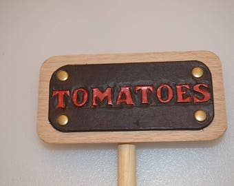 Tomatoes  Leather and wood Garden row marker