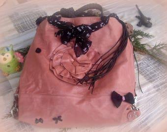 Pink large old leather SATCHEL