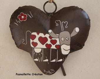"TO order: Heart Bell metal Decoration ""Cow with hearts"""