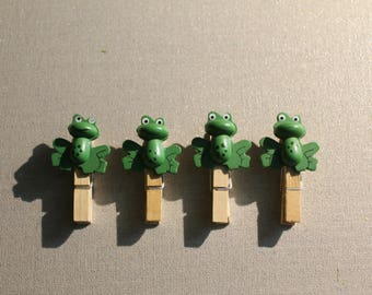 Set of four clothespin frogs everywhere