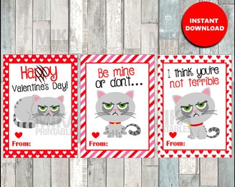 grumpy cat valentines day cards valentines day cards printableinstant download