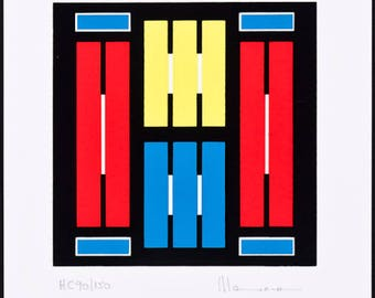 OSCAR MAXERA - 'Giometric composition' - hand signed & numbered lithograph - c1983 (listed Argentine artist)
