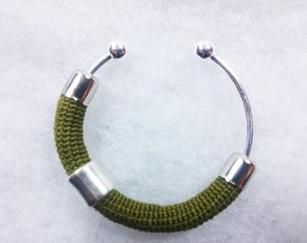 Bangle in Lisle's crochet worked ++ green + Matitie +