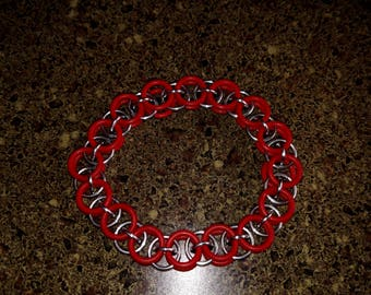 Red and silver single link helm chain bracelet