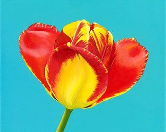 Tulip Burst Original Oil Painting on Canvas