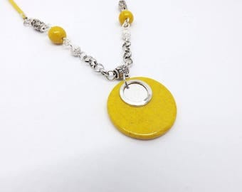 Yellow and silver sequin necklace
