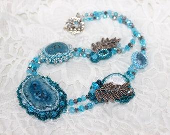 Jewellery, Necklace, Quartz, Blue necklace,Beading,Bead necklace,Beaded necklace,Present,Beaded jewelry,Stone necklace,Bib necklace,Handmade