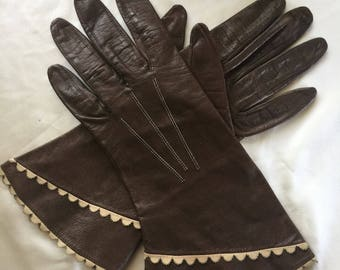 1960s leather driving gloves, vintage leather driving gloves, brown leather driving gloves