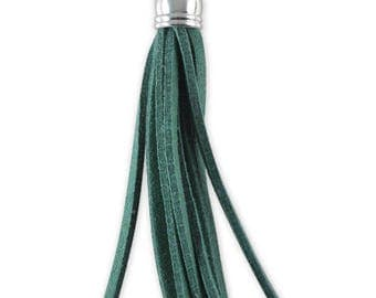 """"" Suede green tassel 60 mm charm pendant"