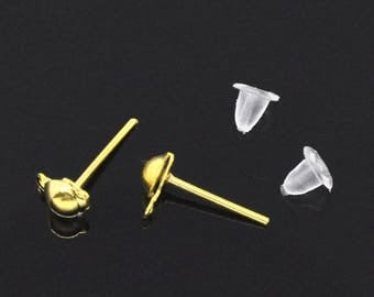 Stud Earrings with ring (x 20) gold metal