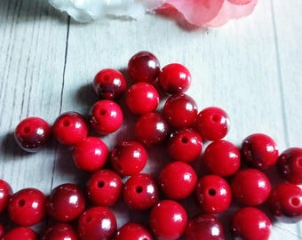 12 two-colored 10 mm acrylic round beads