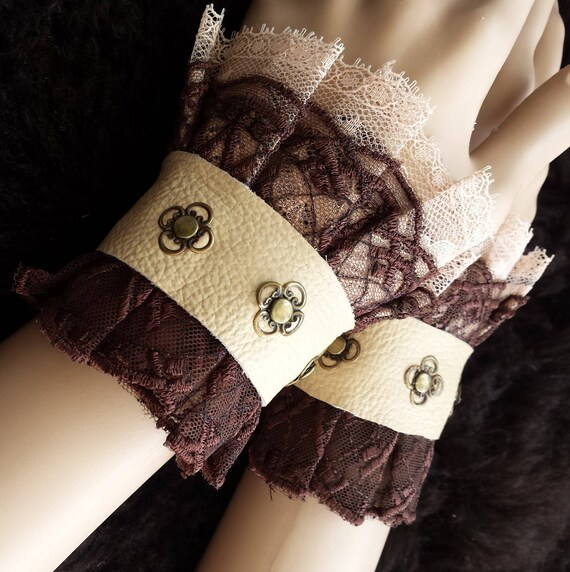 Princess Ireth -cuffs, Bracelets, Fabric, Steampunk, Victorian, Costume, Embroidered, flower, wedding, nugoth, lace, leather, tulle, genuine by Lieblingshexe steampunk buy now online