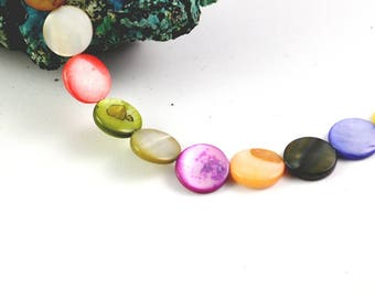 """10 natural Pearly pearls tinted """"quoits"""" 11.5 mm multicolor"""