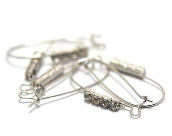 10 Great American Stud Earrings with Rhinestones, silver