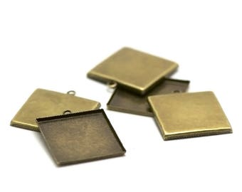 "bronze 4 brackets cabochon pendant ""square 25 x 25 mm"""