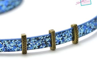 """10 pearls passing/slides for leather strap """"032b""""15 x 5 x 4 mm, bronze"""