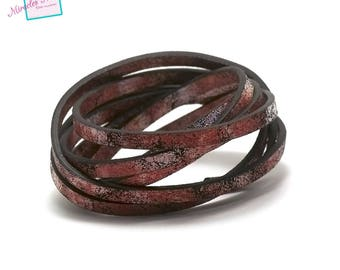 "1 m leather strap ""MIST"" 5 x 2 mm, Red"
