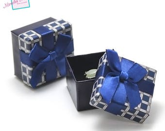 "2 boxes / caskets ""Plaid bow"" ring 50 x 50 x 34 mm, blue"