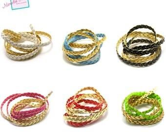 1 m + 1 m (free) cord strap braided 7 x 2 mm leather, color choice