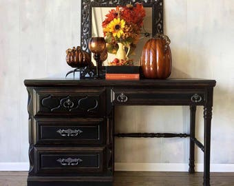 Classic black four drawer desk, distressed details, refinished original hardware in hammered pewter, home office furniture w/ lined drawers