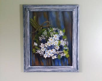 Daisy painting Daisy bouquet Wild flowers painting Palette knife Floral art painting Oil painting flowers Wall decor Home decor Gift for her